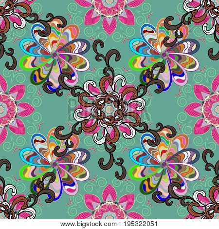 Blooming jungle. Motley vector illustration. Seamless exotic pattern with many pink tropical flowers.
