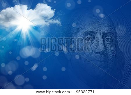 conceptual image of one hundred US dollar bill in blue sky