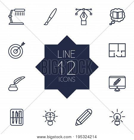 Set Of 12 Creative Outline Icons Set.Collection Of Property Plan, Inkwell With Pen, Bezier Curve And Other Elements.