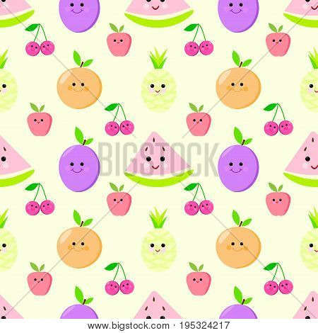 Fruit seamless vector pattern for children holiday, grapes, color, citruses