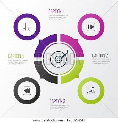Audio Icons Set. Collection Of Rewind Back, Note, Gramophone And Other Elements. Also Includes Symbols Such As Next, Dj, Forward.