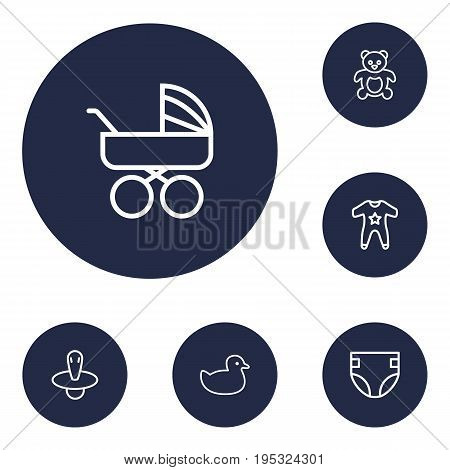 Set Of 6 Kid Outline Icons Set.Collection Of Rubber, Smock, Nipple And Other Elements.