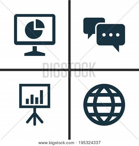 Trade Icons Set. Collection Of Earth, Statistics, Presentation Board And Other Elements. Also Includes Symbols Such As Earth, Board, Presentation.