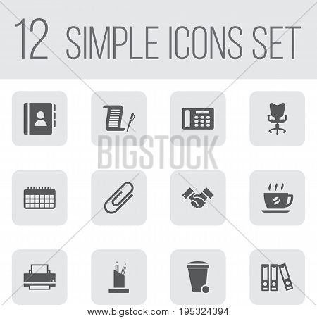 Set Of 12 Work Icons Set.Collection Of Calendar, Clip, Contract And Other Elements.