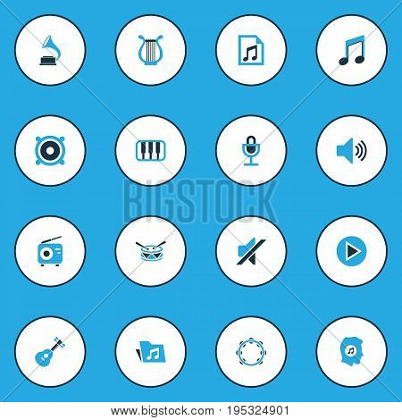 Music Colorful Icons Set. Collection Of Tambourine, Playlist, Piano And Other Elements. Also Includes Symbols Such As Drum, Harp, Octave.