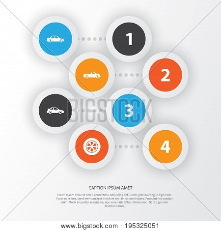 Car Icons Set. Collection Of Carriage, Crossover, Automobile And Other Elements. Also Includes Symbols Such As Car, Wheel, Crossover.