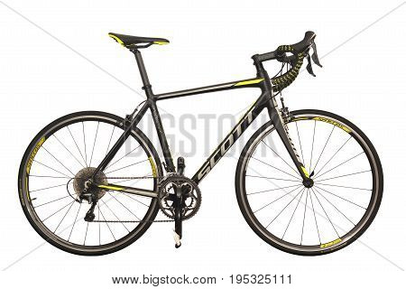 Caransebes Romania - July 6 2017: A Scott Speedster road bicycle isolated on a white background. Shot taken on July 6th 2017
