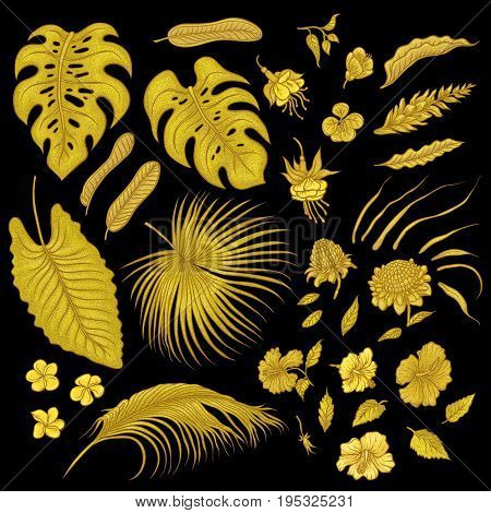Vector sketch golden texture set of isolated elements. Gold shiny leaves of tropical plants, exotic flowers buds. Graphic outline drawing collection goldish herb and vegetation monsoon rainforest