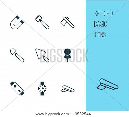 Tools Icons Set. Collection Of Tomahawk, Scoop, Cop Cap And Other Elements. Also Includes Symbols Such As Spud, Pin, Accumulator.