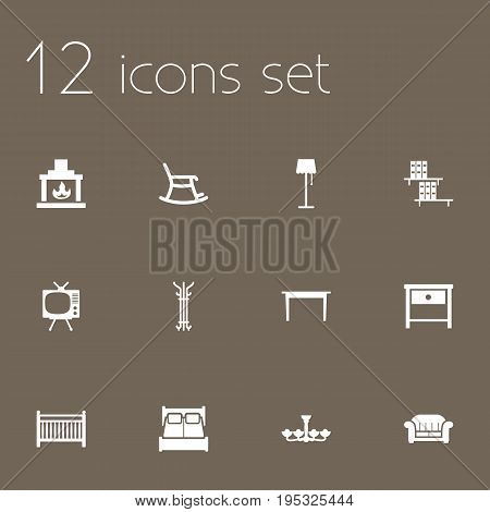 Set Of 12 Decor Icons Set.Collection Of Chimney, Bedside Table, Luster And Other Elements.