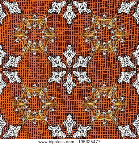 White pattern on orange roughness background with white elements. White pattern. Vector oriental ornament.