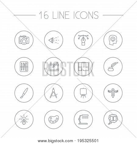 Set Of 16 Creative Outline Icons Set.Collection Of Writing, Dslr Camera, Bezier Curve And Other Elements.