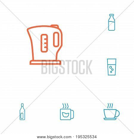 Set Of 6 Beverages Outline Icons Set.Collection Of Kettle, Fizzy Water, Bottle And Other Elements.