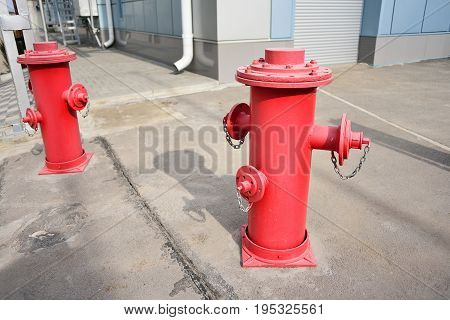 Red fire hydrant fire safety system. The concept of protecting life from fire.