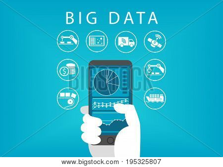 Hand holding smart phone with mobile data analysis dashboard for big data. Concept of different businesses and industries.