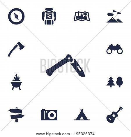 Set Of 13 Picnic Icons Set.Collection Of Signpost, Bbq, Optical Zoom And Other Elements.