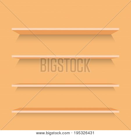 Empty wood shelf on wood decorative wall interior. Vector illustration