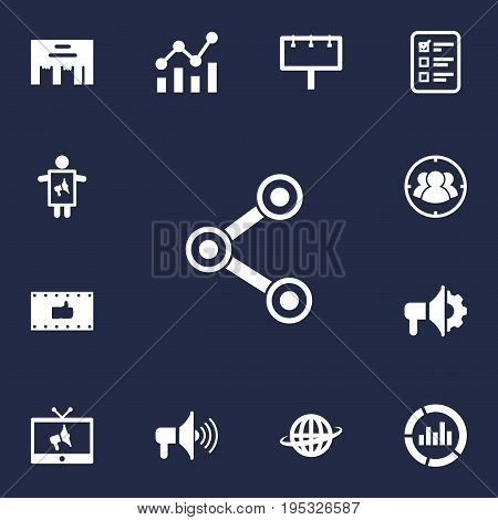 Set Of 13 Trade Icons Set.Collection Of World, Group, Monitoring And Other Elements.