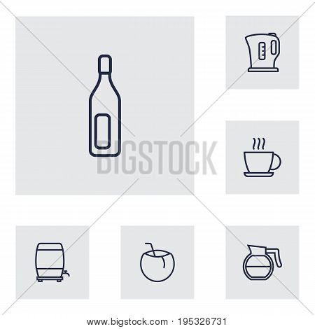 Set Of 6 Beverages Outline Icons Set.Collection Of Wine Cask, Coffeepot, Bottle And Other Elements.