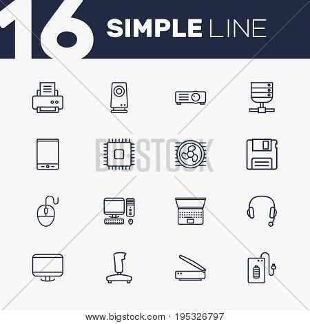Set Of 16 Computer Outline Icons Set.Collection Of Monitor, Laptop, Tablet And Other Elements.