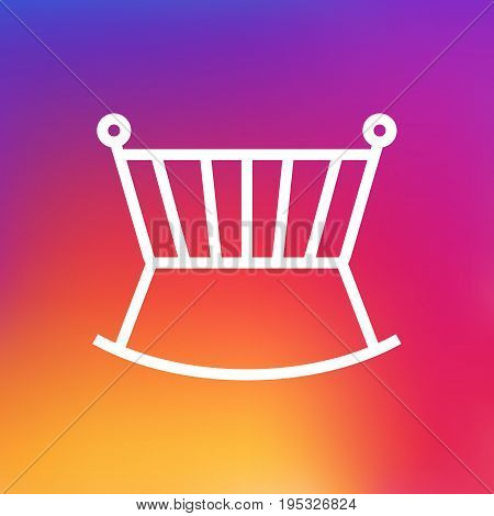 Isolated Cot Outline Symbol On Clean Background. Vector Crib Element In Trendy Style.