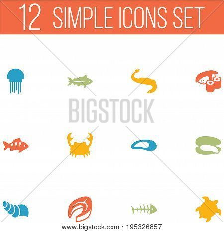 Set Of 12 Seafood Icons Set.Collection Of Beefsteak, Sink, Shell And Other Elements.