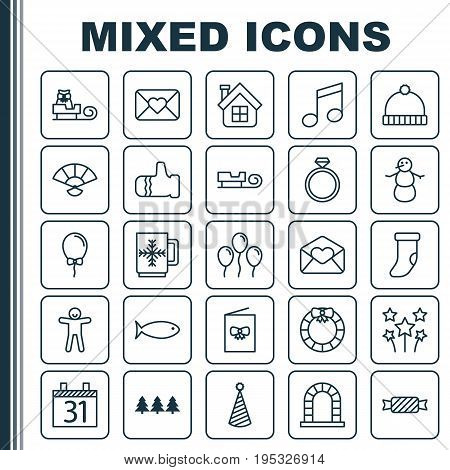 Holiday Icons Set. Collection Of Fireplace Decoration, Crotchets, Sled And Other Elements. Also Includes Symbols Such As House, Xmas, Gauntlet.