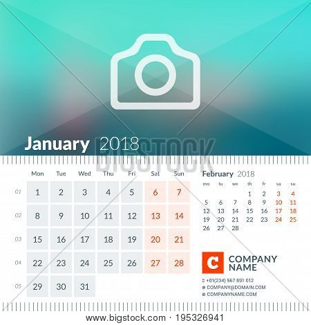 January 2018. Calendar For 2018 Year. Week Starts On Monday. 2 Months On Page. Vector Design Print T
