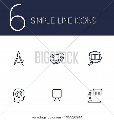 Set Of 6 Creative Outline Icons Set.Collection Of Dividers, Palette, Knowledge And Other Elements.