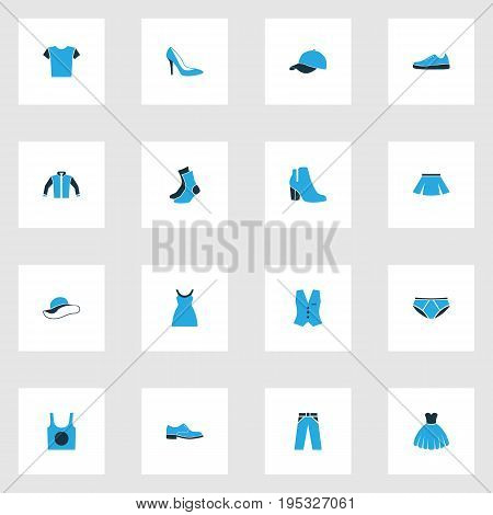 Garment Colorful Icons Set. Collection Of Vest, Sneakers, Panties And Other Elements. Also Includes Symbols Such As Shirt, Vest, Breeches.