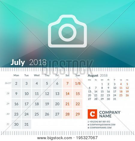 July 2018. Calendar For 2018 Year. Week Starts On Monday. 2 Months On Page. Vector Design Print Temp