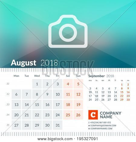 August 2018. Calendar For 2018 Year. Week Starts On Monday. 2 Months On Page. Vector Design Print Te