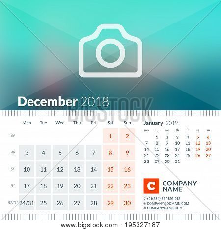 December 2018. Calendar For 2018 Year. Week Starts On Monday. 2 Months On Page. Vector Design Print
