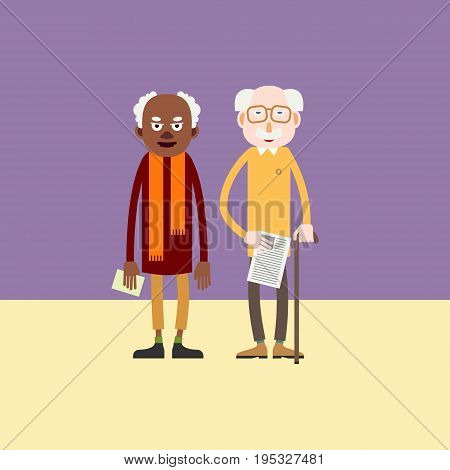 Two elderly man - african-american and white european person stand with papers in hands / Cartoon characters pensioner / Flat style vector