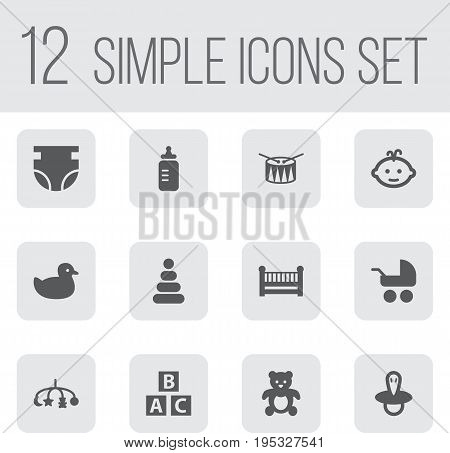 Set Of 12 Kid Icons Set.Collection Of Barrel, Toy, Bear And Other Elements.