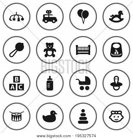 Set Of 16 Baby Icons Set.Collection Of Cot, Toy, Teat And Other Elements.