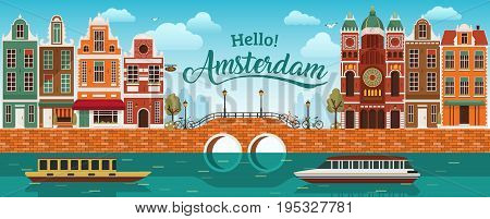 Flat cartoon multicolor colorful historic buildings city town Amsterdam panorama Holland, River sea canal channel bridge boat embankment bicycle multi color street