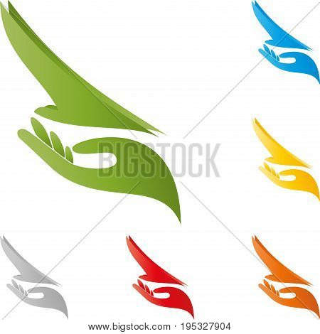Hand and bird in flight, bird and airplane logo
