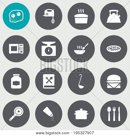 Set Of 16 Culinary Icons Set.Collection Of Blender, Silverware, Electronic Oven And Other Elements.