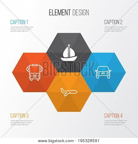 Transport Icons Set. Collection Of Sailboat, Transport, Air Transport And Other Elements. Also Includes Symbols Such As Sail, Car, Boat.