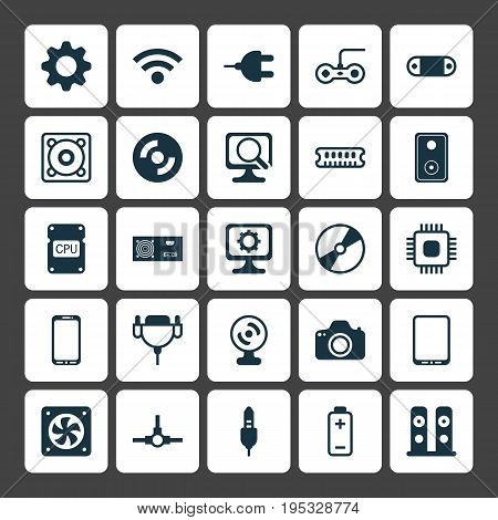 Computer Icons Set. Collection Of Connector, Radio Set, Network Structure And Other Elements. Also Includes Symbols Such As Photocamera, Speaker, Setting.