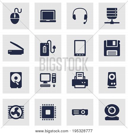 Set Of 16 Laptop Icons Set.Collection Of Headset, Microprocessor, Computer And Other Elements.