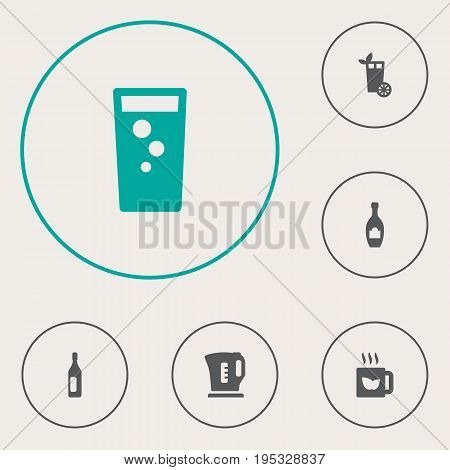 Set Of 6 Drinks Icons Set.Collection Of Electric Teapot, Lemonade, Alcohol And Other Elements.