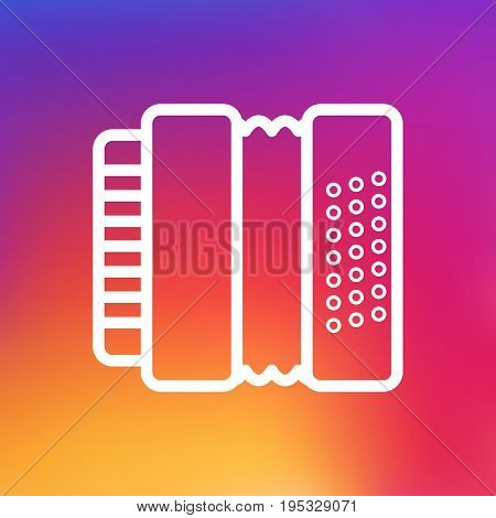Isolated Accordion Outline Symbol On Clean Background. Vector Harmonica  Element In Trendy Style.