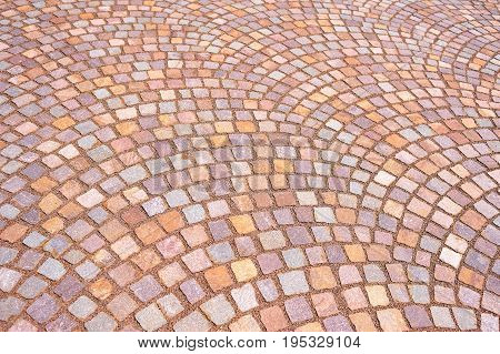 Mosaic colored pavers of small stones, background