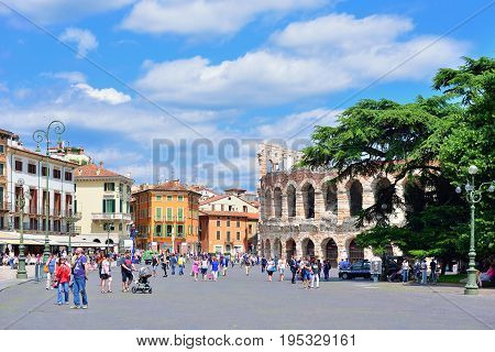 VERONA ITALY - MAY 2017: Cityscape of Verona with Piazza Bra and Verona Arena on a sunny day in Verona Italy