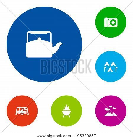 Set Of 6 Camping Icons Set.Collection Of Camp, Kettle, Landscape Elements.
