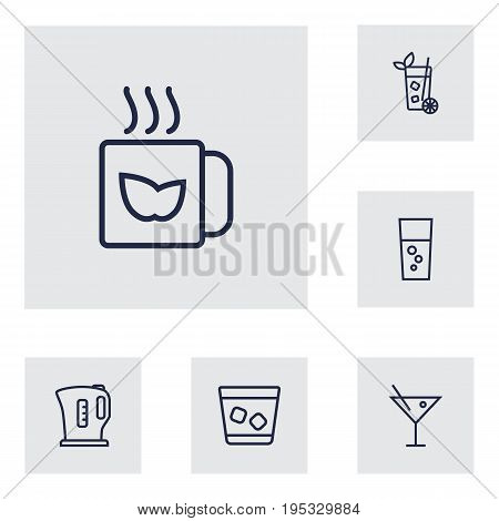 Set Of 6 Beverages Outline Icons Set.Collection Of Kettle, Mug, Fizzy Water And Other Elements.