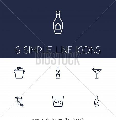 Set Of 6 Beverages Outline Icons Set.Collection Of Champagne, Soda, Cocktail And Other Elements.