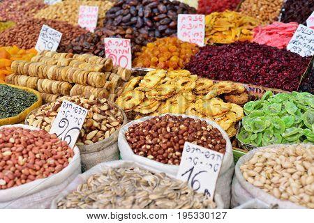 JERUSALEM ISRAEL - APRIL 2017 Large sacks of spices and seeds dried fruits in Market - Mahane Yehuda in Jerusalem Israel